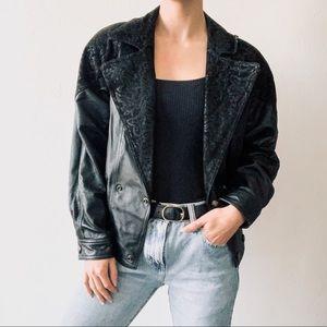 Vintage Preston & York Black Leather Jacket Coat